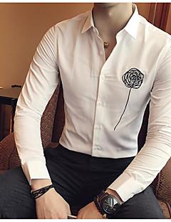 メンズ お出かけ カジュアル/普段着 シャツ,シンプル シャツカラー ソリッド ストライプ コットン 長袖