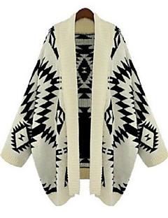 baratos Suéteres de Mulher-Mulheres Manga Longa Longo Carregam Estampado