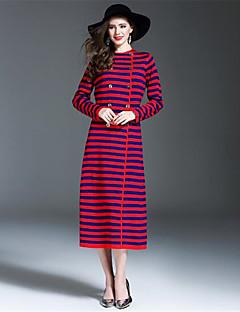여성 칼집 드레스 캐쥬얼/데일리 줄무늬,라운드 넥 미디 긴 소매 울 아크릴 가을 겨울 높은 밑위 약간의 신축성 중간