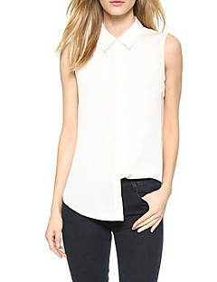 Women's Business Casual Casual/Daily Sexy Simple Plus Size Chiffion OL Style Street chic Spring Summer ShirtSolid Shirt Collar Sleeveless Medium