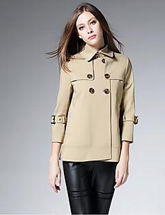 Damen Solide Einfach Lässig/Alltäglich Trench Coat,Hemdkragen Herbst ¾ Ärmel Kurz Polyester