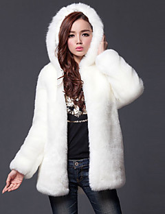 cheap -Women's Going out Plus Size Simple Casual Winter Fall Fur Coat,Solid Hooded Long Sleeve Regular Faux Fur