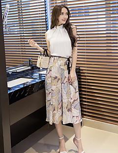 Dames Eenvoudig Zomer T-Shirt Pantalon Kostuums,Casual/Dagelijks Blad Strakke ronde hals Mouwloos