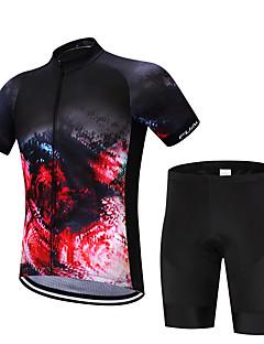 Sykkeljersey med bib-shorts Herre Kortermet Sykkel Shorts Skjorte Genser Jersey Topper Fort Tørring Fukt Gjennomtrengelighet Reduserer