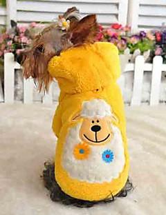 billiga Hundkläder-Katt Hund Huvtröjor Pyjamas Hundkläder Tecknat Purpur Gul Röd Grön Blå Polär Ull Kostym För husdjur Herr Dam Gulligt Ledigt/vardag
