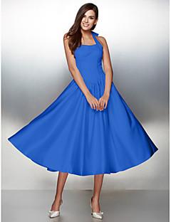 billiga Balklänningar-A-linje Halterneck Telång Satäng Snörning Bal / Formell kväll Klänning med Rosett(er) av TS Couture®