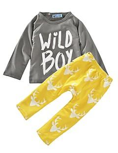 bebê Para Meninos Algodão Fashion Animal Conjunto,Estampa Animal Primavera/Outono Inverno