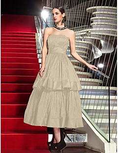 billige Høst 2013-A-linje Stroppeløs Telang Taft Liten svart kjole Skoleball / Formell kveld Kjole med Plissert av TS Couture®