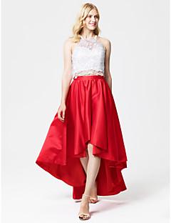 tanie Sukienki kolorowe i wzorzyste-Księżniczka / Dwuczęściowa Halter Asymetryczna Koronka / Satyna Dwuczęściowe / Prześwitujące Spotkanie towarzyskie / Studniówka / Kolacja oficjalna Sukienka z Plisy przez TS Couture®