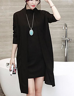 Women's Casual/Daily Simple Fall Blouse Skirt Suits,Solid Round Neck Long Sleeve