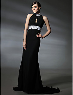 cheap Celebrity Dresses-Mermaid / Trumpet High Neck Court Train Chiffon Formal Evening / Military Ball Dress with Beading Crystal Detailing Draping by TS Couture®