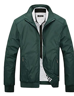 Men's Casual/Daily Simple Fall Jacket,Solid Stand Long Sleeve Regular Polyester