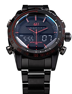 ASJ® Men's Full Steel Sport Watch Japanese Quartz Analog-Digital LED/LCD/Multifunctional/Water Resistant/Alarm Military Cool Watch Unique Watch