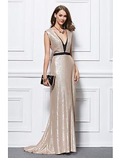 billige Høst 2013-Havfrue Stikkende halslinje Gulvlang Paljetter Formell kveld Kjole med Paljett av TS Couture®