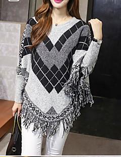 baratos Suéteres de Mulher-Mulheres Manga Longa Algodão Longo Pulôver - Geométrica Algodão / Outono / Inverno