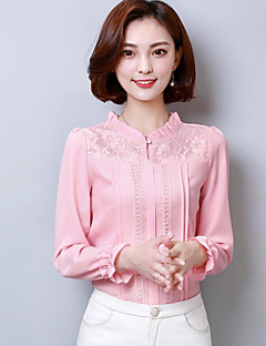 Women's Going out Cute Shirt,Solid Button Down Collar Long Sleeves Cotton