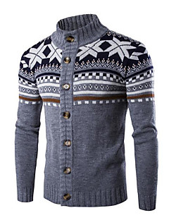 tanie Męskie swetry i swetry rozpinane-Męskie Sztuczne futro Okrągły dekolt Rozpinany - Nadruk, Jendolity kolor Długi rękaw