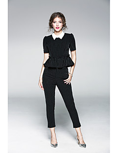 Women's Daily Sophisticated Spring T-shirt Pant Suits,Solid Striped Shirt Collar Short Sleeve Polyester
