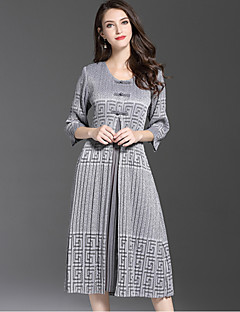 Women's Going out Cute Sheath Dress,Print Round Neck Midi 3/4 Length Sleeves Polyester Fall Mid Rise Micro-elastic Medium