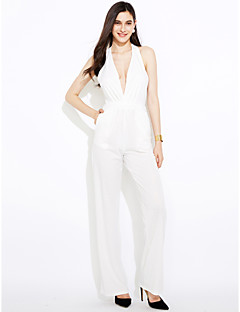 Women's Daily Club Casual Sexy Solid Halter Jumpsuits,Wide Leg Sleeveless Summer Polyester