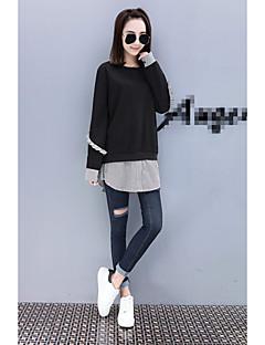 Damen Pullover Übergröße Ausgehen Lässig/Alltäglich Übergröße Einfach Solide Streife Patchwork Rundhalsausschnitt Mikro-elastisch
