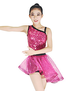 cheap Latin Dance Wear-Ballet Outfits Women's Children's Performance Polyester Spandex Organza Tulle Sequined Sequin Sashes / Ribbons Paillette Color Block