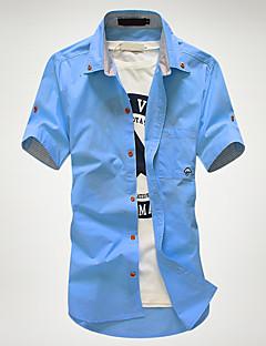 billige Herremote og klær-Bomull Tynn Kneppet krage Store størrelser Skjorte Herre - Ensfarget, Grunnleggende / Kortermet