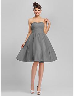 billiga Balklänningar-A-linje Hjärtformad urringning Knälång Tyll Cocktailfest Klänning med Bård / Korsvis av TS Couture®