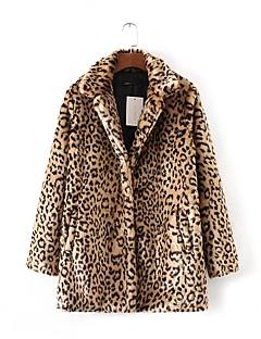 Damă Rever Clasic Palton Piele Sport Casul/Zilnic Ieșire Simplu Șic Stradă,Leopard Manșon Lung Toamnă Iarnă-RegularBlană Artificială