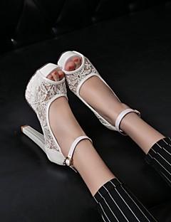 hesapli -Kadın's Ayakkabı Kişiselleştirilmiş Malzemeler Bahar Yaz Rahat Yenilikçi Stiletto Topuk Platform Düğün Ofis ve Kariyer Elbise Parti ve
