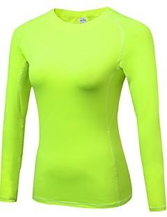 baratos -Mulheres Camiseta Segunda Pele Manga Longa Esticar Respirabilidade Leve Camiseta Pulôver Blusas para Correr Ciclismo Exercício e