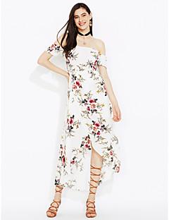Χαμηλού Κόστους Off Shoulder-Γυναικεία Παραλία Θήκη Φόρεμα - Φλοράλ, Εξώπλατο Σκίσιμο Μακρύ Ψηλοκάβαλο Χαμόγελο