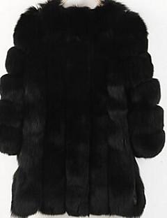 رخيصةأون معاطف و معاطف مطر نسائية-قياس كبير معطف فرو نسائي لون سادة فرو
