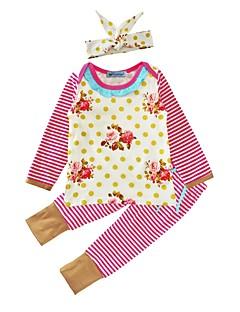 billige Sett med babyklær-Baby Pige Tøjsæt Bomuld Afslappet/Hverdag Prikker Blomstret Stribe, Bomuld Vinter Forår/Vinter Langærmet Blomster Lyserød