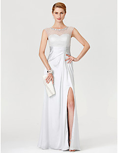 Sheath / Column Illusion Neckline Floor Length Tulle Stretch Satin Mother of the Bride Dress with Beading Pleats by LAN TING BRIDE®