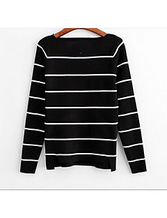 baratos Suéteres de Mulher-Mulheres Para Noite Manga Longa Algodão Pulôver - Listrado Algodão