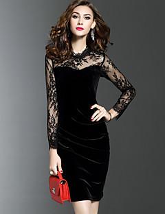 Χαμηλού Κόστους Φορέματα-Γυναικεία Μεγάλα Μεγέθη Εφαρμοστό Θήκη Φόρεμα - Μονόχρωμο Κέντημα, Δαντέλα Σουρωτά Δίχτυ Όρθιος Γιακάς