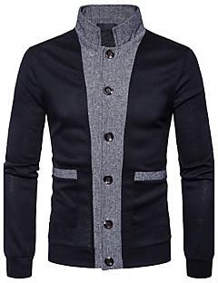 Χαμηλού Κόστους Men's Fashion Cardigans-Ανδρικά Δουλειά Μακρυμάνικο Λαιμόκοψη V Ζακέτα - Μονόχρωμο