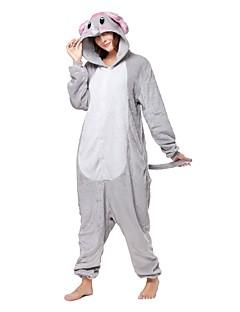 billige Kigurumi-Kigurumi-pysjamas med tøfler Elefant Onesie-pysjamas Kostume Flannelstoff Grå Cosplay Til Pysjamas med dyremotiv Tegnefilm Halloween