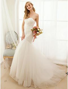 billiga Trumpet-/sjöjungfrubrudklänningar-Trumpet / sjöjungfru Hjärtformad urringning Svepsläp Tyll Bröllopsklänningar tillverkade med Knapp / Korsvis av LAN TING BRIDE® / Öppen Rygg