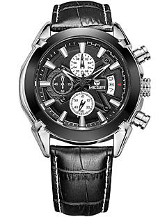 MEGIR Herrn Armbanduhr Einzigartige kreative Uhr Armbanduhren für den Alltag Uhr Holz Sportuhr Modeuhr Quartz Kalender Echtes Leder Band
