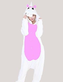 billige Kigurumi-Kigurumi-pysjamas med tøfler Enhjørning Onesie-pysjamas Kostume Flannelstoff Lilla Rose Blå Rosa Gul Cosplay Til Pysjamas med dyremotiv
