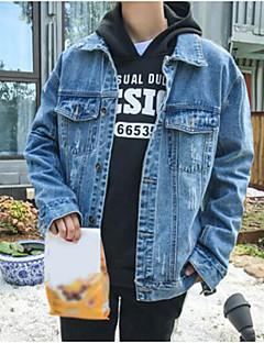 メンズ カジュアル/普段着 秋 デニムジャケット,シンプル シャツカラー ソリッド レギュラー コットン 長袖