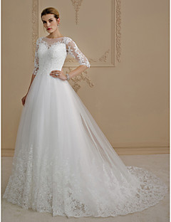 A-Line Princess Illusion Neckline Court Train Lace Tulle Wedding Dress with Appliques Buttons by LAN TING BRIDE®
