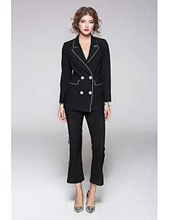 Damen Solide Gestreift Anspruchsvoll Lässig/Alltäglich Arbeit Anzug,Hemdkragen Herbst Lange Ärmel Standard Baumwolle Polyester