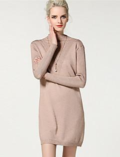 Χαμηλού Κόστους YHSP-Γυναικεία Πλεκτά Φόρεμα - Μονόχρωμο Όρθιος Γιακάς