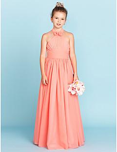 A-Linie Princess Lodičkový Na zem Šifón Šaty pro malou družičku s Květina(y) Šerpy / Stuhy podle LAN TING BRIDE®
