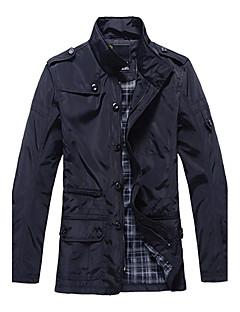 Masculino Jaqueta Casual Simples Outono Inverno,Sólido Padrão Poliuretano Com Capuz Manga Longa
