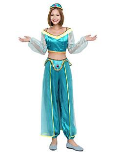 billige Halloweenkostymer-Princess Jasmine Cosplay Kostumer Jul Halloween Karneval Oktoberfest Nytt År Festival / høytid Halloween-kostymer Grønn Blå Helfarge Mote