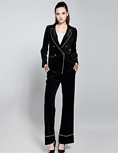 Damen Solide Einfach Anspruchsvoll Arbeit Lässig/Alltäglich Anzug,Hemdkragen Herbst Lange Ärmel Standard Polyester